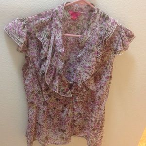 Pink flower-print blouse by Sunny Leigh. Worn once