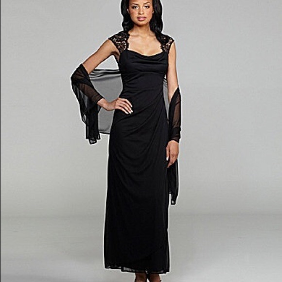 Xscape Dresses Black Formal Jersey Dress With Lace Cap Sleeve S6