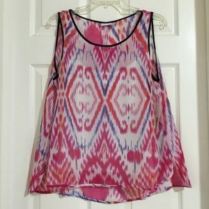DKNY Tops - DKNYC Large Sheer Carnival High Low Blouse