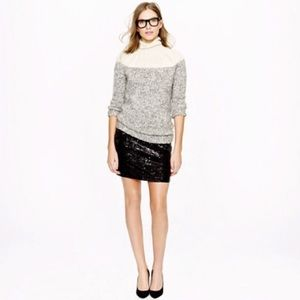 J. Crew | Black Sequin Pencil Mini Skirt