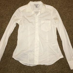 white button down long shirt