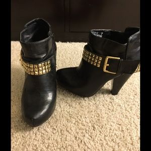 Shoes - Black booties with gold studded buckle strap