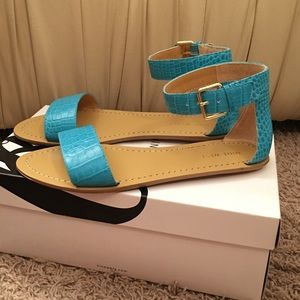 Nine West Shoes - Nine West Turquoise Croc Ankle Strap Sandals