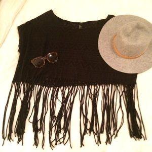 Crochet sheer black fringe top cropped L tassels