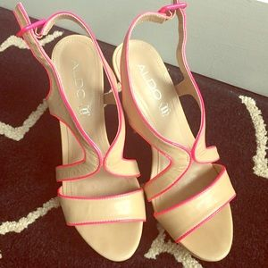 ALDO Shoes - 🎀moving sale: Nude heels with pink detail!!