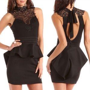 Black Peplum Dress Crochet Lace Top holiday
