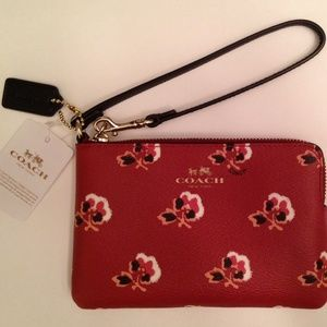 Coach Berry Multicolor Rose Corner Zip Wristlet
