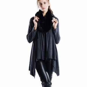 "X ""Endless Time"" Faux Fur Collar Cardigan"