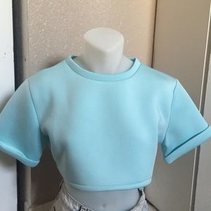 Choies blue crop top