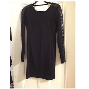 Black Dress Long Sleeves with sequins detail