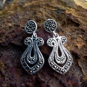 Jewelry - .925 Art Deco Styling Marcasite Dangle Earrings
