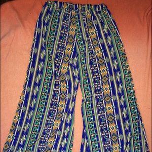 Pants - Tribal print palazzo pants size L