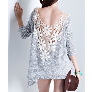 "Bare Anthology Tops - ""Daisy"" Crochet Back Long Sleeve Top"