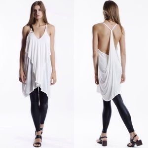 "Bare Anthology Tops - ""Air"" Ruffle Front Draped Back Tunic Top"