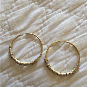 """Silver & gold plated loop earrings, 1.5"""""""