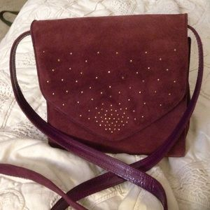 Stuart Weitzman purple suede purse LSU