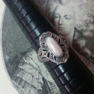 Vintage Jewelry - Vintage 925 silver angel skin coral marcasite ring