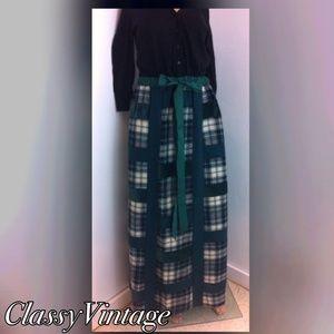 Mr. Hank Dresses & Skirts - Vintage green plaid maxi skirt