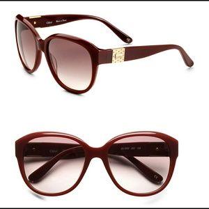 Chloe Opaque Logo CL2233 C03 Sunglasses Burgundy