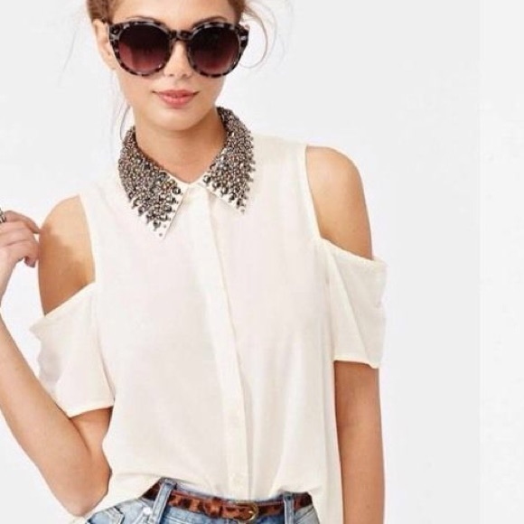 Lush Tops Jeweled Collar Sheer Cut Out Sleeve Blouse Poshmark