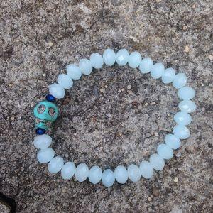 73v3n Jewelry - Blue skull bracelet