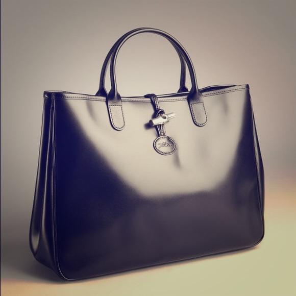 Longchamp Handbags - Authentic Longchamp Roseau Patent Leather Tote e44836ec3dc60