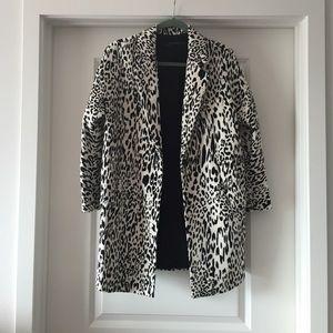 Zara Jackets & Blazers - ZARA black and white leopard coat Sz XS