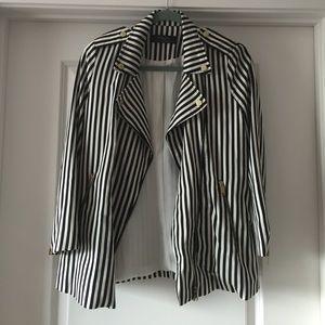 Zara Jackets & Blazers - ZARA black and white striped jacket Sz S