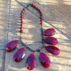 Jewelry - Statement Burgundy Teardrop Necklace