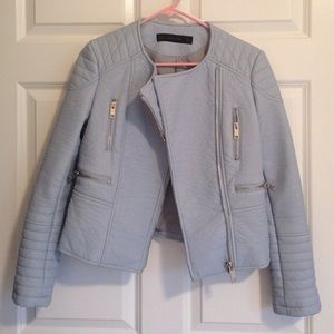 HP  Zara powder blue faux leather jacket