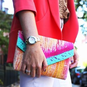 my a la mode Handbags - my a la mode painted handmade envelope clutch