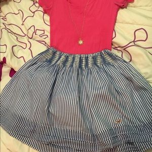 Blue and White Hollister Striped Skirt