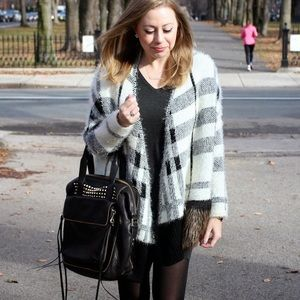 sheinside Sweaters - plaid cardigan poncho with faux fur pockets