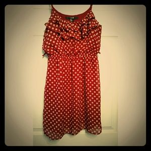 Forever 21 dress, maroon with tan Polk a dots.