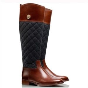 TORY BURCH leather/quilted riding boots