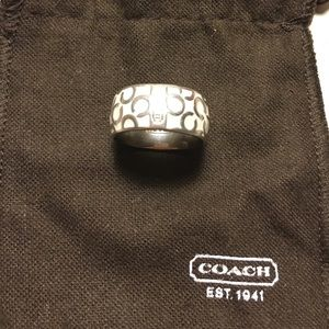 Coach White Enamel Ring