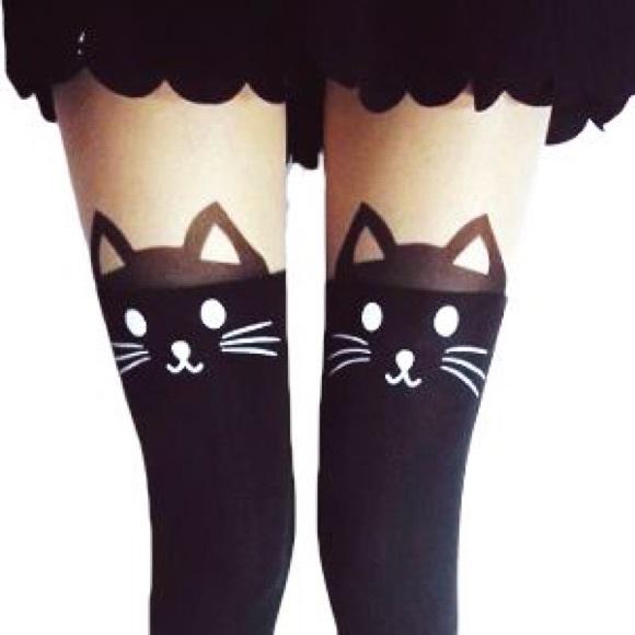 2e6bfa1fc Maitehong Accessories - BLACK CAT THIGH HIGH STOCKINGS