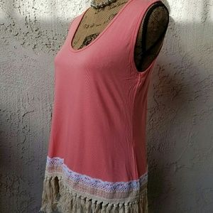 Va Va by Joy Han Tops - 129) peachy/coral tank with fringed bottom