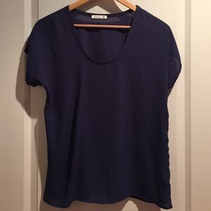 Navy blue short sleeve sheer blouse from Nordstrom