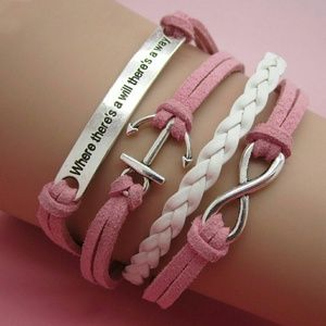 handmade Jewelry - LEATHER CHARM BRACELET - Order BB or Pink