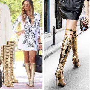 Michael Antonio Shoes - •Silver gladiator heels•