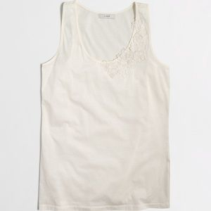 J.crew Embroidered Floral Tank - Ivory