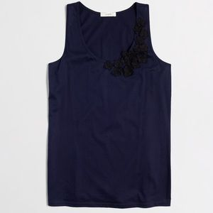J.crew Embroidered Floral Tank - Blue