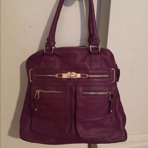 Segolene Paris  Handbags - Segolene Paris Zip Satchel Purple - Vegan Leather