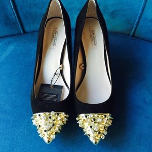 ZARA black suede pumps with studs 38 (7.5)