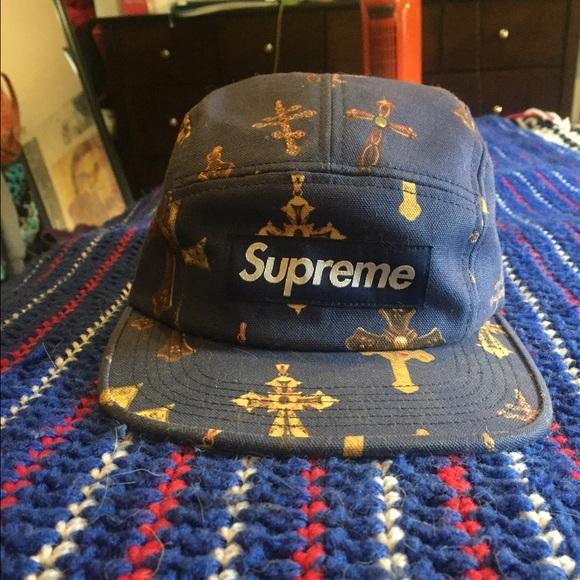 Rare Supreme Camp hat in Navy Cross pattern. M 561d2e9377adea9bf902ce28 aa0a26c9304d