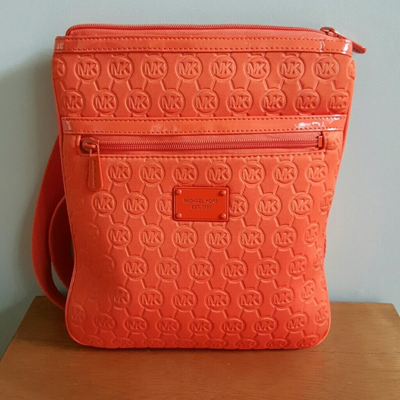 michael kors bags final price mk orange neoprene crossbody bag rh poshmark com