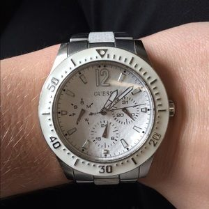 Guess White and Silver Watch