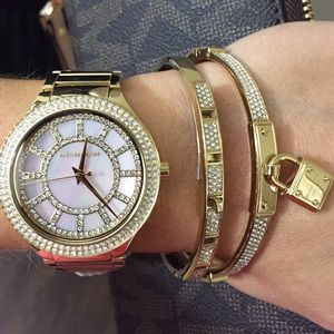 NWT Michael Kors Gold Pave Mother Pearl Watch