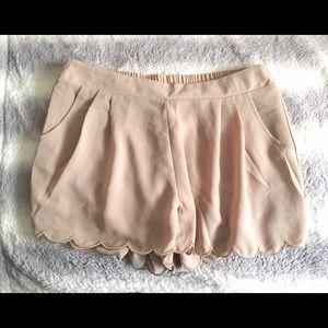 scallopped hem flowy beige shorts
